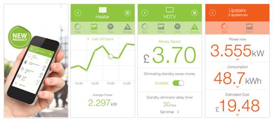 Capturas de pantalla de la aplicación móvil eGO Efergy